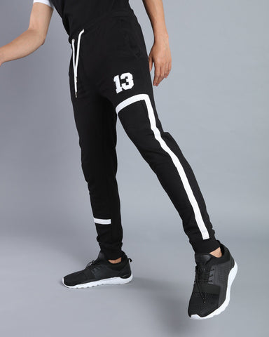Joggers with Tape Pattern in Black