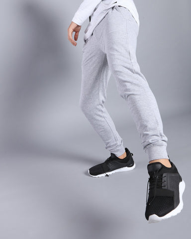 Slim Fit Solid Joggers in Grey Melange