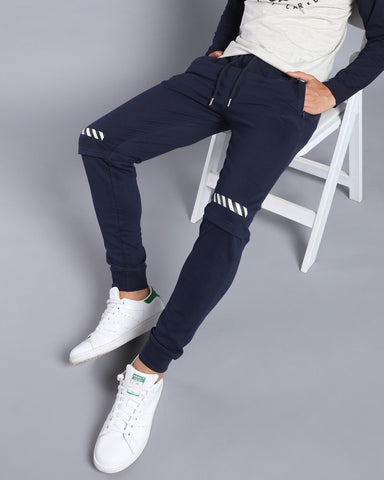 Joggers with Knee Panel and Minimalistic Print in Navy Blue