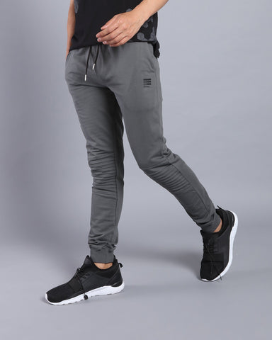 Joggers with Biker Panel in Dark Grey