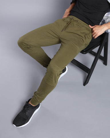 Joggers with Biker Panel in Olive Green