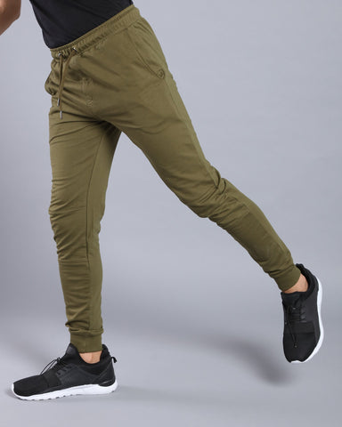 Olive Green joggers with Biker panel by Antimatter