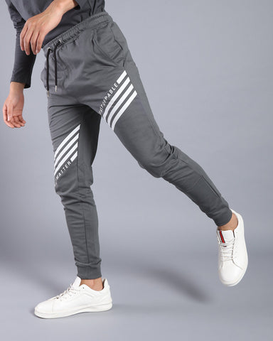 Joggers with Printed Stripes in Dark Grey