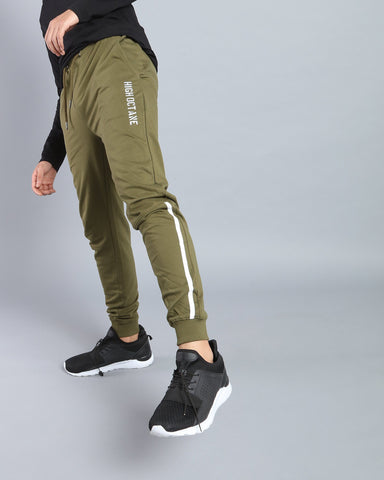 Joggers with Side Stripe and Embroidery in Olive Green