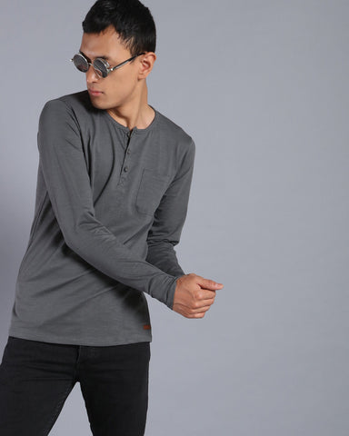 Henley Neck Solid T-shirt with Pocket in Dark Grey