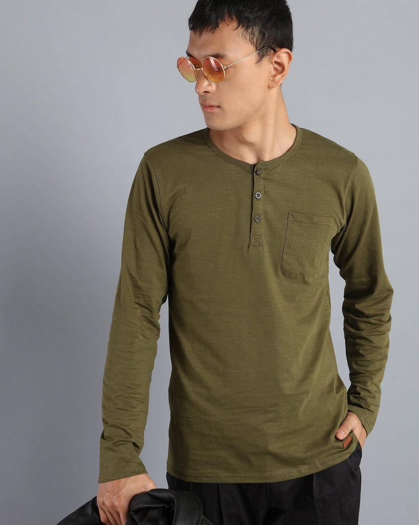 0d36773ba9c6 Antimatter Full Sleeves Solid Henley T-shirt with Pocket in Olive ...