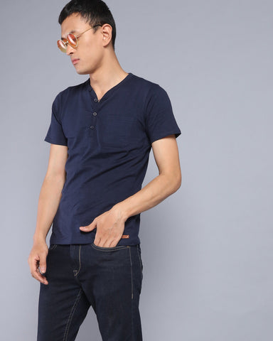 Henley Neck Solid T-shirt with Pocket in Navy Blue