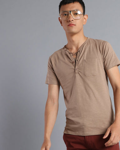 Henley Neck Solid T-shirt with Pocket in Taupe Grey