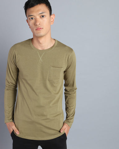 Plain Round Neck T-shirt with Pocket in Olive Green