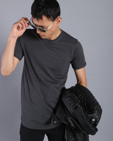 Longline T-shirt with Pocket in Dark Grey