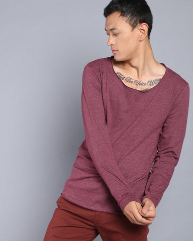 Scoop Neck Solid T-shirt in Melange Magenta