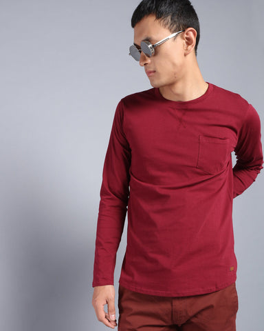 Plain Round Neck T-shirt with Pocket in Maroon