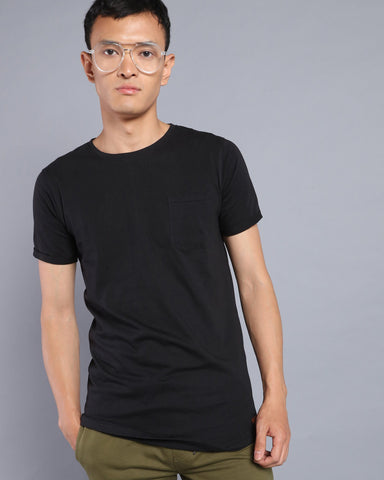 Longline T-shirt with Pocket in Black