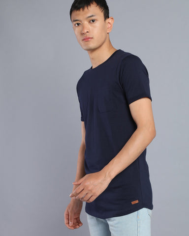 Longline T-shirt with Pocket in Navy Blue