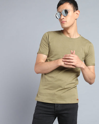 Solid Crew Neck T-shirt with Pocket in Olive Green