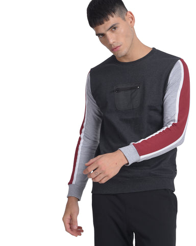 Sweatshirt With Sleeve Stripe in Charcoal Grey