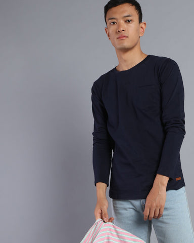Plain Round Neck T-shirt with Pocket in Navy Blue