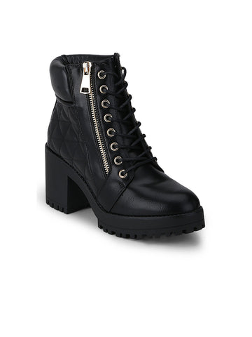Truffle Collection Women Black Textured Heeled Boots