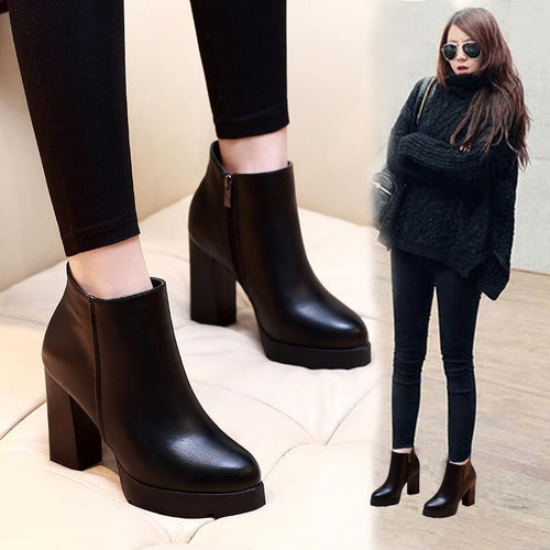 Women Ankle Boots dropshipping Autumn Martin Women High Heels Boots - 4allshoppers