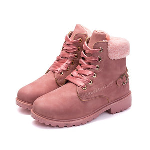 New Pink Women Boots Lace up Solid Casual Ankle Boots - 4allshoppers