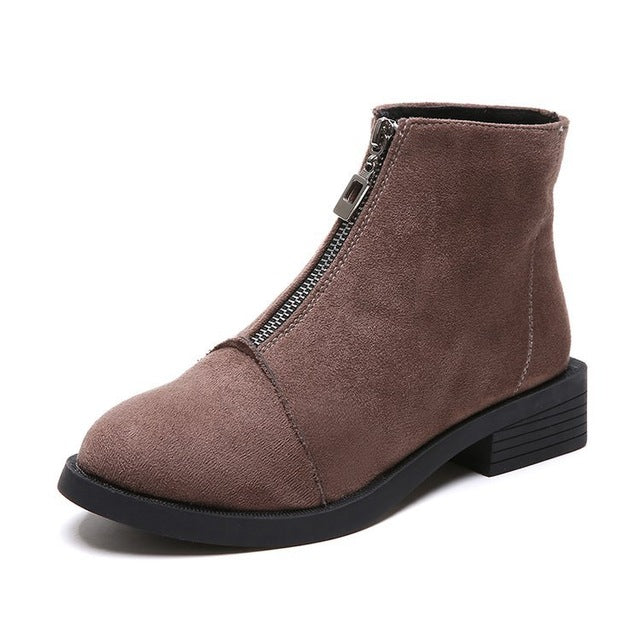 2019 New Women Zip Autumn Ankle Boots Ladies Classic Comfort Thick Middle Heels - 4allshoppers