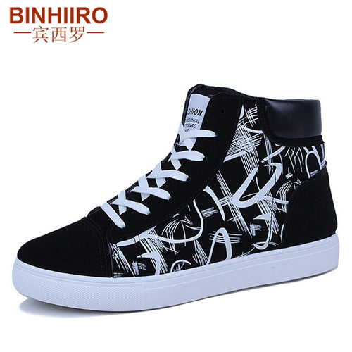 BINHIIRO Men's Vulcanize Shoes 2019 Spring Autumn Casual High Tops Sneakers - 4allshoppers