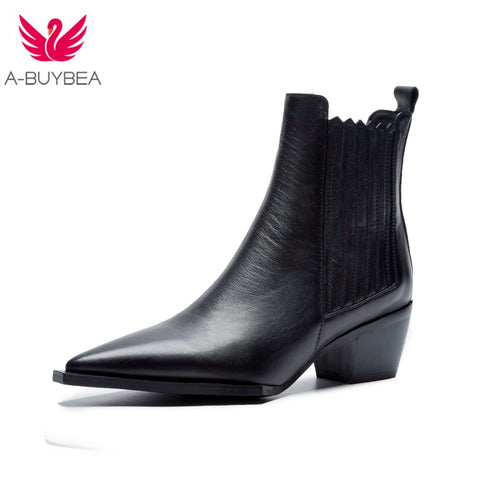 Spring Women's Leather Short Boots Black Women's Winter Chelsea Boots Slip on - 4allshoppers