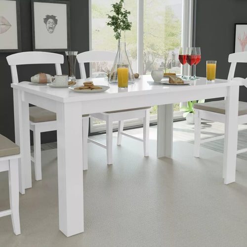 High-Quality Dining Table White Elegant Design  Durable Contemporary Dining Table