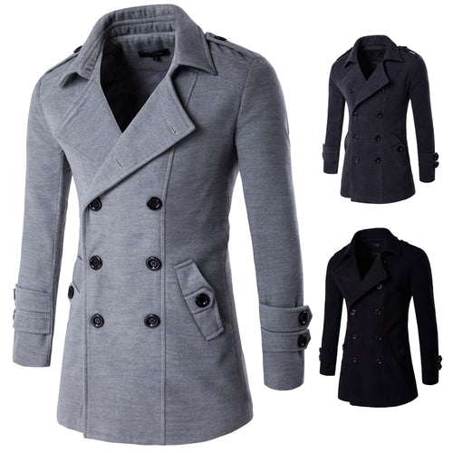 Men Wool Blends Coats Autumn Winter New Solid Color High Quality Men's Wool Coats
