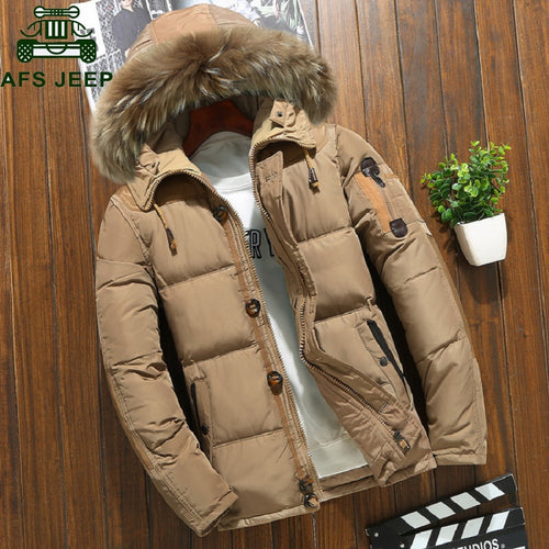 Winter Jacket Mens White Duck Down Parkas Jacket
