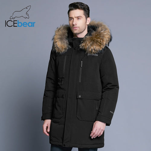 new winter men's down jacket high quality detachable hat  thick warm fur collar