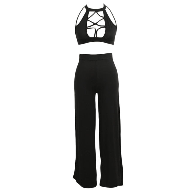 Sexy Women Two Pieces Set Turtleneck Sleeveless Hollow out Crop Top High Waist Split Pant Fashion Sets Party Clubwear For Ladies - 4allshoppers