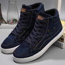 Load image into Gallery viewer, Shoes men casual wear resistant fashion shoes denim high top - 4allshoppers