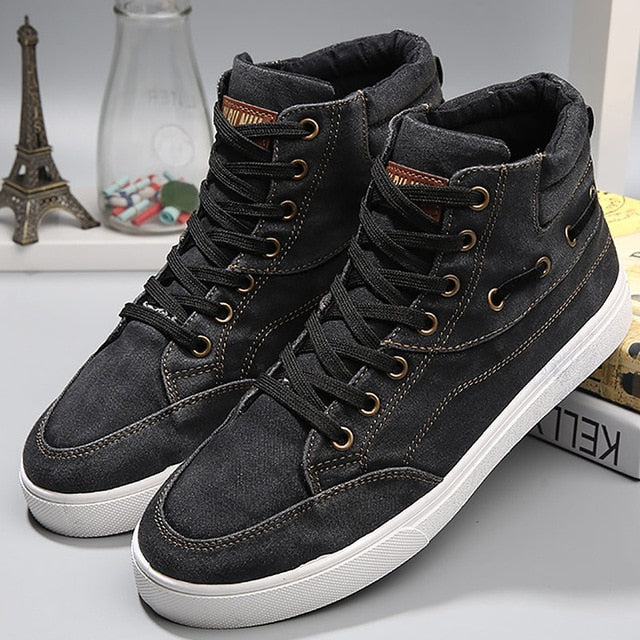 Shoes men casual wear resistant fashion shoes denim high top - 4allshoppers