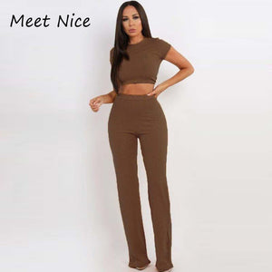 2 Two Piece Set Women Ribbed O Neck Crop Top and Long Pants Set - 4allshoppers