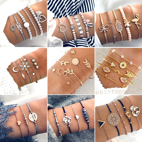 30 Style Boho Bangle Elephant Heart Shell Star Moon Bow Map Crystal Bead Bracelet Women Charm - 4allshoppers