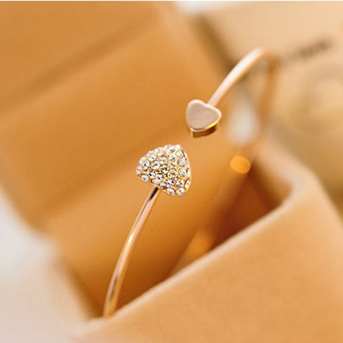 2019 Hot New Fashion Adjustable Crystal Double Heart Bow Bilezik Cuff Opening Bracelet - 4allshoppers