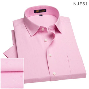 2019Summer turndown collar short sleeve oxford fabric soft print business men smart casual shirts with chest pocket S-4xl 8color - 4allshoppers