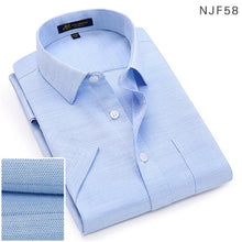 Load image into Gallery viewer, 2019Summer turndown collar short sleeve oxford fabric soft print business men smart casual shirts with chest pocket S-4xl 8color - 4allshoppers