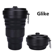 Load image into Gallery viewer, 550ml Travel Cup Mug Collapsible Silicone Cup With Lid Floding Lightweight Water Coffee Drinking Mug Camping Hiking BPA Free - 4allshoppers