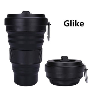 550ml Travel Cup Mug Collapsible Silicone Cup With Lid Floding Lightweight Water Coffee Drinking Mug Camping Hiking BPA Free - 4allshoppers