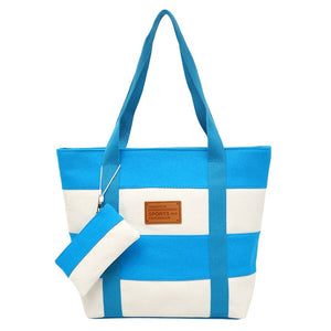 2019 Women Beach Canvas Bag Fashion Color Stripes Printing Handbags - 4allshoppers