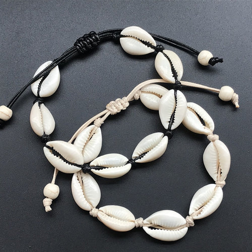 Handmade Natural Seashell Hand Knit Bracelet Shells Bracelets Women Accessories Beaded Strand Bracelet - 4allshoppers