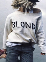 White Casual Embroidered Letter Sweater