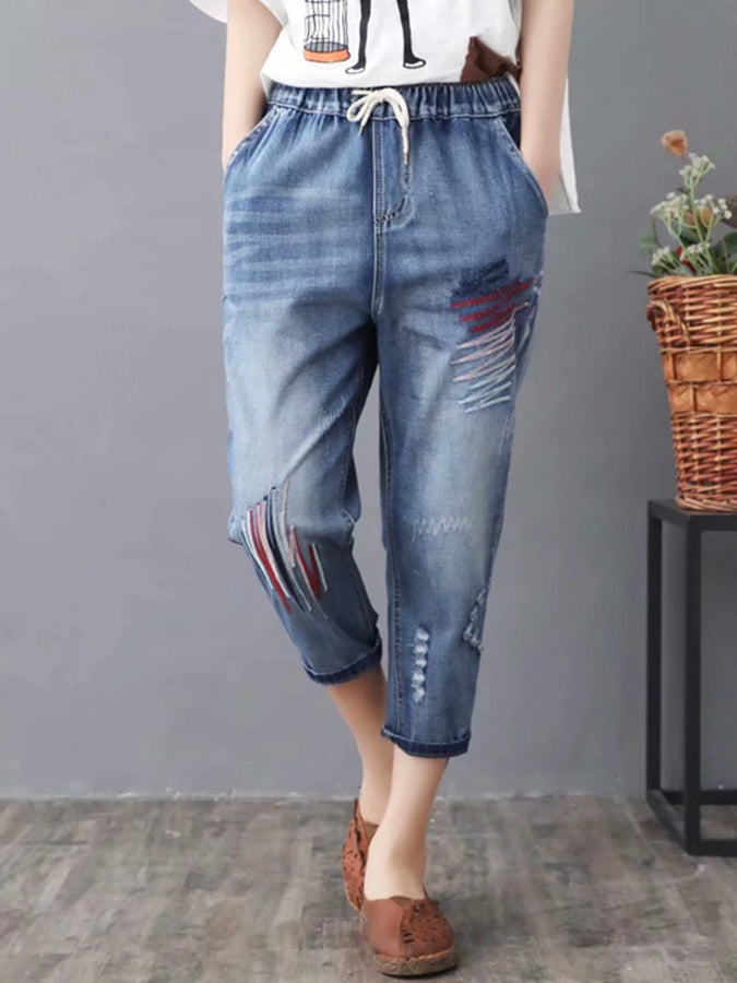 Blue Casual Floral Pockets Pants