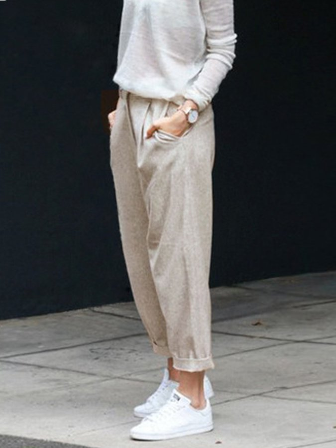 Casual Cotton-Blend Gathered Pants