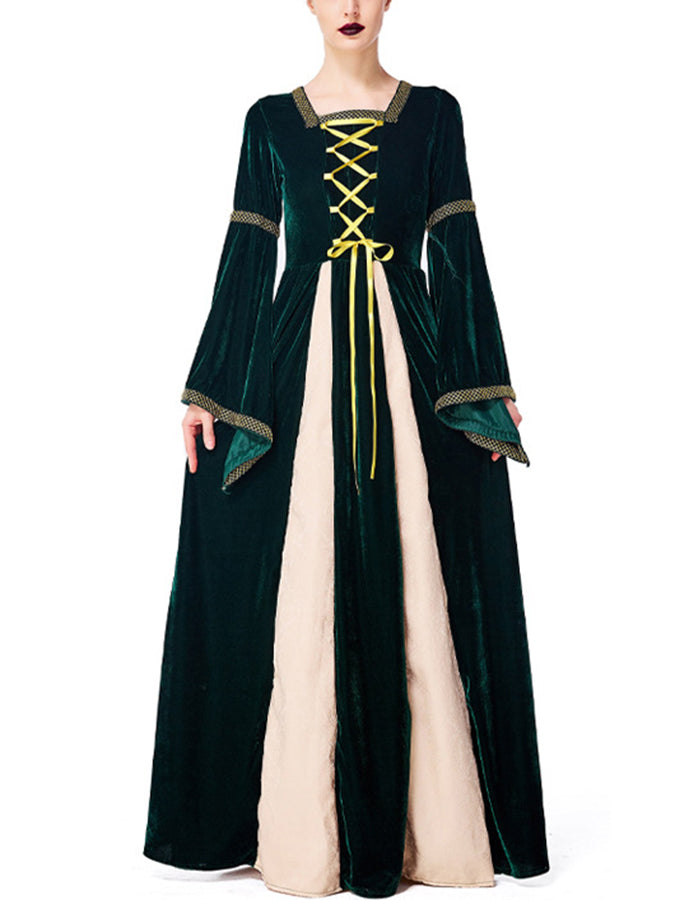 Halloween Darkgreen Shift Long Sleeve Square Neck Dresses