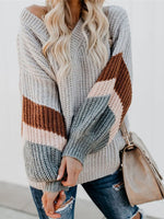 Long Sleeve Striped Knitted Knitted Shirts & Tops