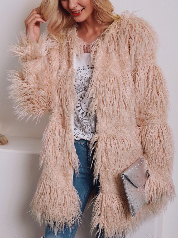 Long Sleeve Casual Faux Fur Outerwear