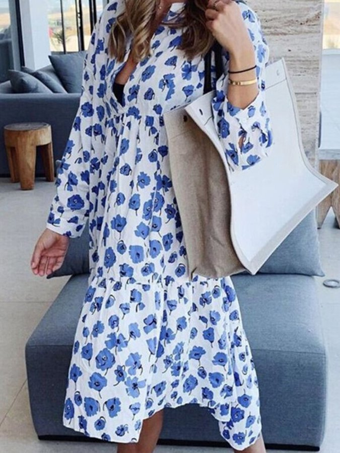 V Neck Long Sleeve Cotton Casual Dresses